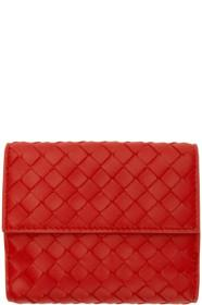 Bottega Veneta Red Mini Intrecciato Wallet