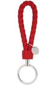 Bottega Veneta Red Intrecciato Loop Keychain