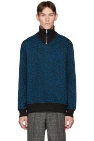 Paul Smith Blue Cheetah Zip Sweater