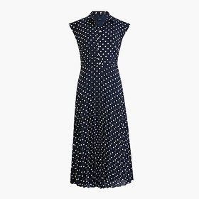 J. Crew Midi shirtdress with pleated skirt in dot