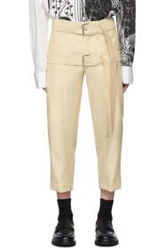 Lanvin Off-White Cropped Double Belt Trousers