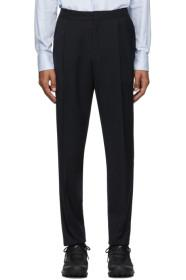 Z Zegna Navy Formal Banded Drawstring Trousers