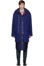 Paul Smith Navy Boiled Wool Oversized Coat