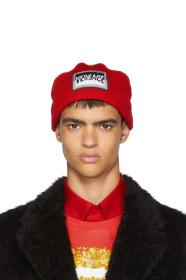 Versace Red Boxer Logo Beanie