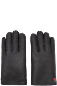 Undercover Black Shearling Rose Gloves