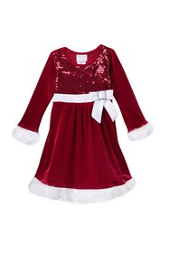 GERSON & GERSON Long Sleeve Faux Fur Trimmed Santa