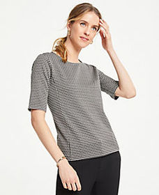Petite Geo Jacquard Short Sleeve Top
