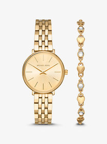 Michael Kors Mini Pyper Gold-Tone Watch and Heart