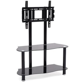 """35.4"""""""" Wide Glass TV Stand with Mount in Black - H"""
