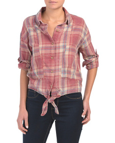 C&C CALIFORNIA Burnwash Plaid Tie Front Shirt