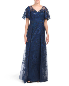 TERI JON Tulle And Lace Applique Gown