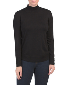 CABLE & GAUGE Long Sleeve Sweater With Curved Hem