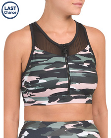 C&C CALIFORNIA Camo Bra With Mesh Insets