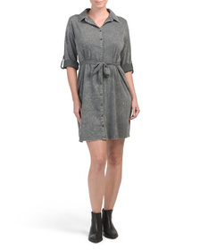 CG CABLE & GAUGE Roll Tab Button Front Shirt Dress