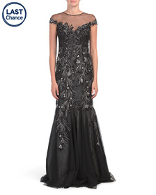 TERI JON Cap Sleeve Illusion Sequin Gown