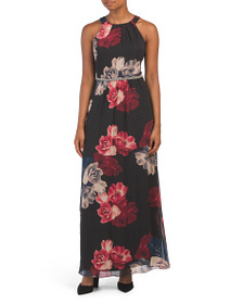 S.L. FASHION Floral Maxi Dress With Beaded Waist
