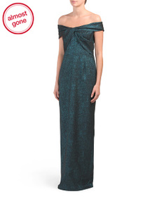 TERI JON V-neck Off The Shoulder Long Gown