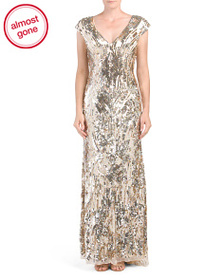MACDUGGAL Petite V-neck All Over Sequins Gown