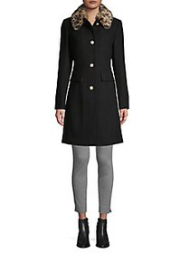 Kate Spade New York Removable Faux Fur Collar Wool