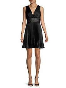BCBGMAXAZRIA Pleated Mini Dress BLACK