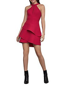 BCBGMAXAZRIA Tiered Halter Dress RIO RED