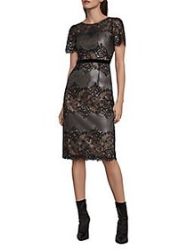 BCBGMAXAZRIA Metallic Lace Cocktail Dress GUNMETAL