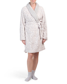 FLORA BY FLORA NIKROOZ Flannel Fleece Robe And Coz