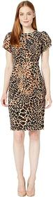 Calvin Klein Tulip Sleeve Animal Print Sheath Dres