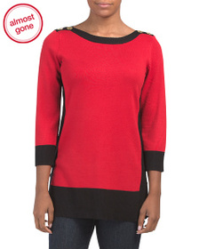CABLE & GAUGE Boat Neck Tunic With Contrast Rib