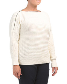 1.STATE Plus Zip Neck Off The Shoulder Sweater