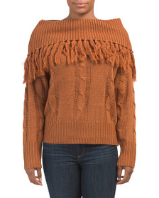 MOON RIVER Cable Knit Off The Shoulder Sweater