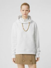 Burberry Chain Detail Cotton Oversized Hoodie in W