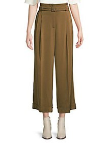 Marella Pleated Belted Wide-Leg Pants CAMEL