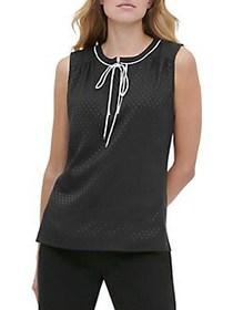 Tommy Hilfiger Contrast Dotted Tie-Neck Sleeveless