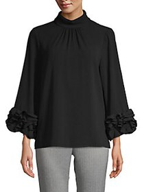 Vince Camuto Long-Sleeve Ruffle Top RICH BLACK