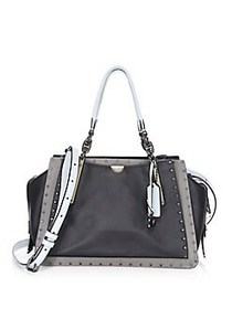COACH Dreamer Rivet Trim Leather Tote Bag BLACK
