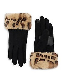 Echo Women's Leopard-Print Faux-Fur Cuff Gloves OA