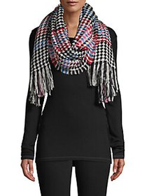 Echo Houndstooth Fringed Scarf BLACK MULTI