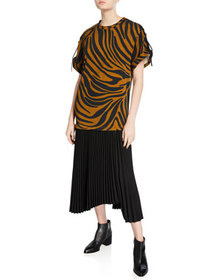 3.1 Phillip Lim Tiger-Striped Tie-Sleeve Pleated D