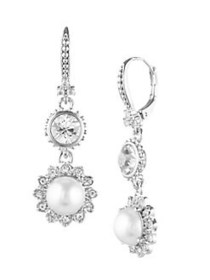 Marchesa Rhodium-plated and Crystal Double Drop Ea