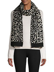 Echo Printed Ribbed Scarf BLACK