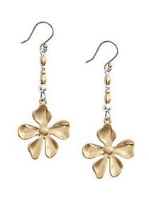 Lucky Brand Floral Chase Two-Tone Beaded Drop Earr
