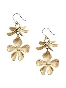 Lucky Brand Floral Chase Goldtone Drop Earrings GO