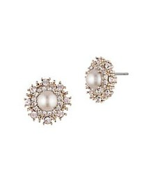 Marchesa Faux Pearl & Crystal Stud Earrings GOLD