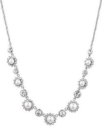 Marchesa Rhodium-plated and Crystal Frontal Neckla