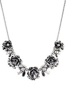 Marchesa Faux Pearl & Crystal Flower Necklace SILV