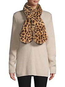 Echo Leopard-Print Pull-Through Faux Fur Scarf OAT