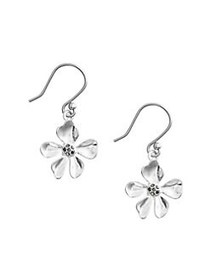 Lucky Brand Floral Chase Silvertone & Crystal Drop