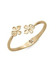 Lucky Brand Floral Chase Goldtone Hinged Cuff Brac