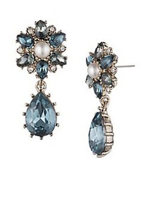 Marchesa Faux Pearl and Crystal Floral Drop Earrin